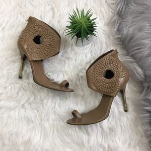 Elizabeth and James Taupe Cut Out Stilettos